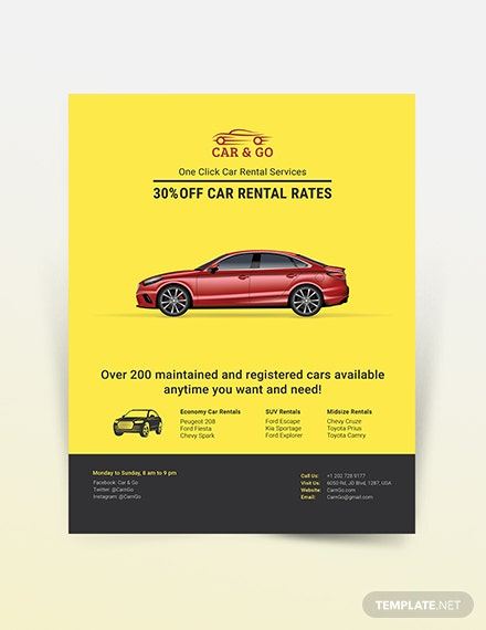 Simple Car Rental Flyer Template
