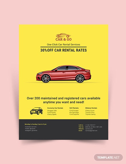 simple car rental flyer