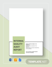 Internal Quality Audit Report Template