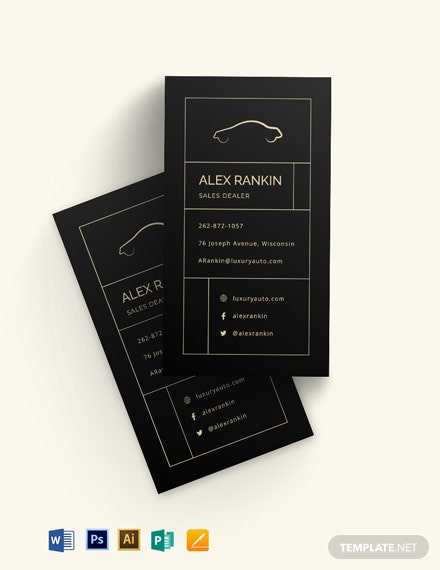 Chalkboard Auto Dealer Business Card Template