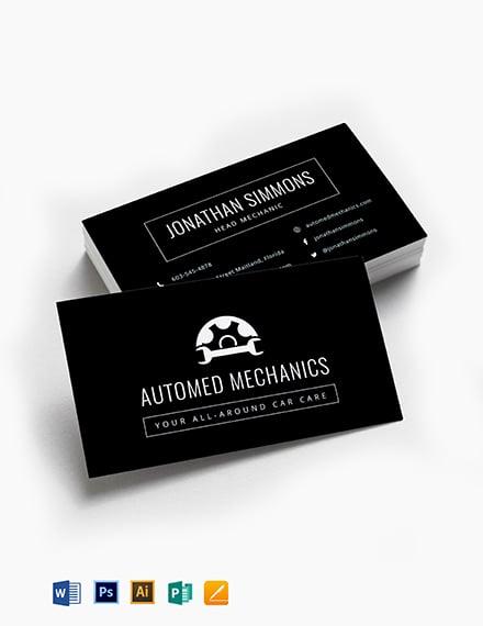Chalkboard Auto Repair Business Card Template