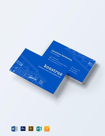 Modern Construction Business Card Template