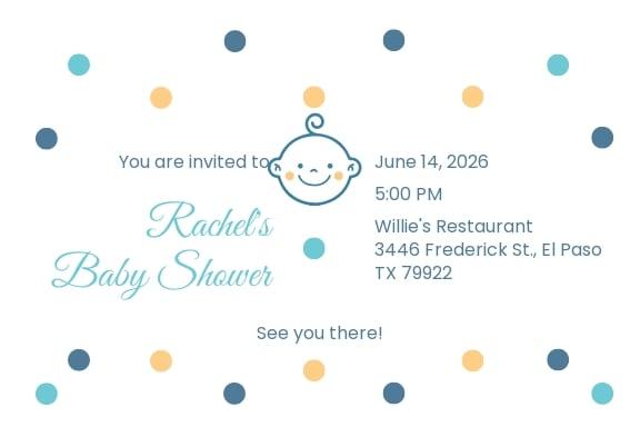 Baby Shower Invitation Postcard Template