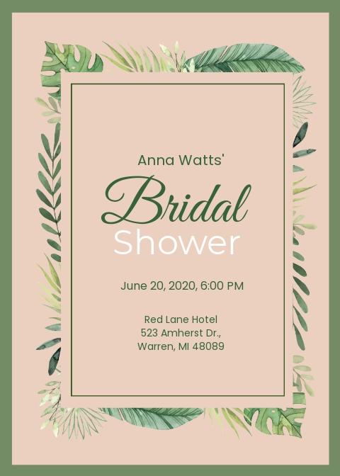 Bridal Shower invitation Postcard Template