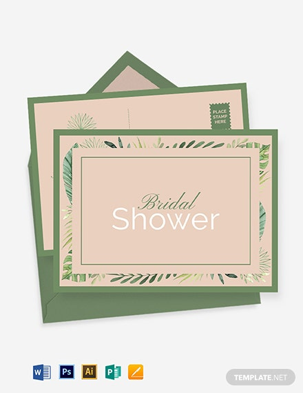 Bridal Shower invitation Postcard Template