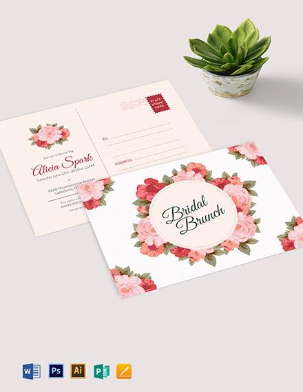 Bridal Shower Postcard template