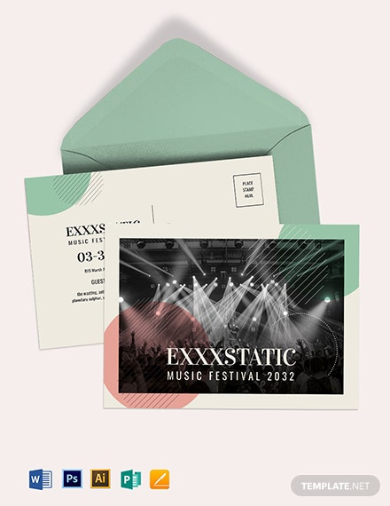 Music Event Postcard Template