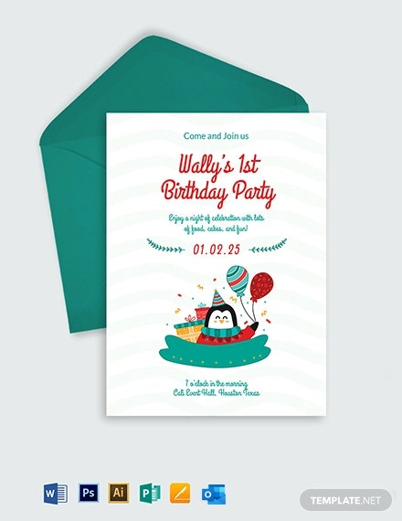 Baby Boy First Birthday Invitation Template