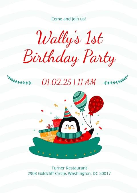 Baby Boy First Birthday Invitation Template.jpe