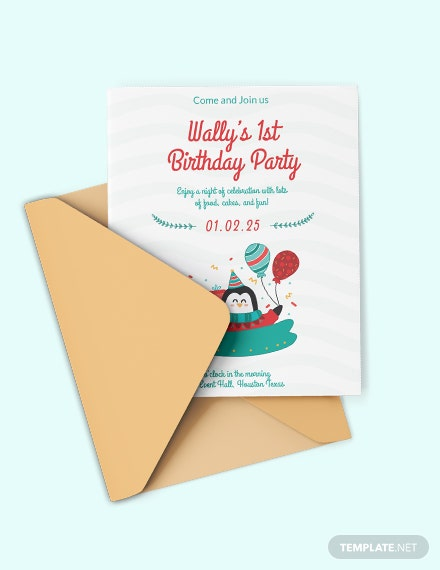 baby boy first birthday invitation
