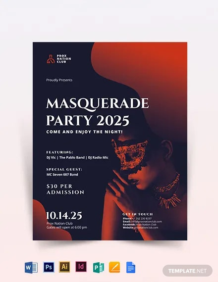 Masquerade Party Flyer Template