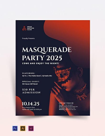 Masquerade Party Flyer Template