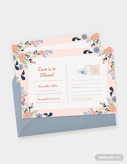 Bridal Shower Postcard invitation Download