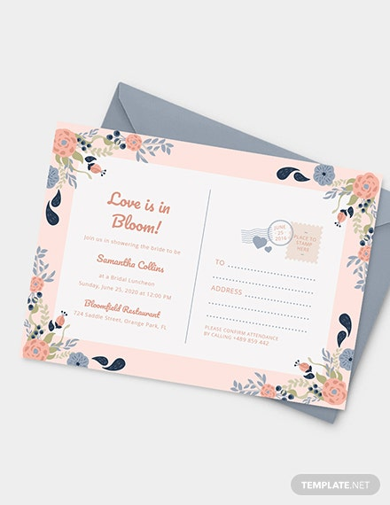 Sample Bridal Shower Postcard invitation