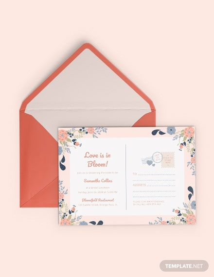 bridal shower postcard invitation