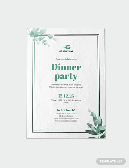 Sample Formal Dinner Party Invitation