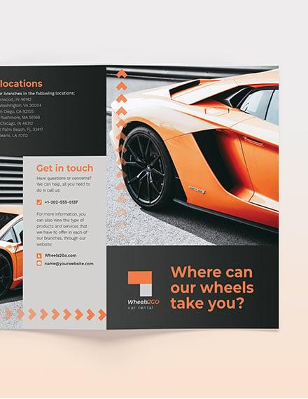 Sample Car Rental BiFold Brochure