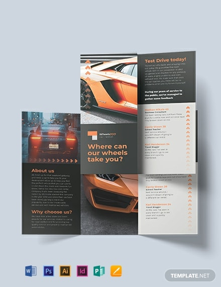 Sample Car Rental TriFold Brochure