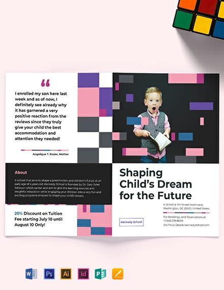 Preschool Promotional BiFold Brochure Template