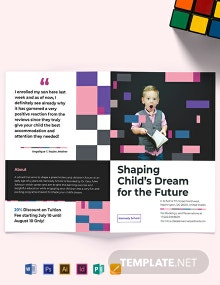 Preschool Promotional Bi-Fold Brochure Template