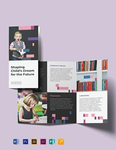 Preschool Promotional TriFold Brochure Template
