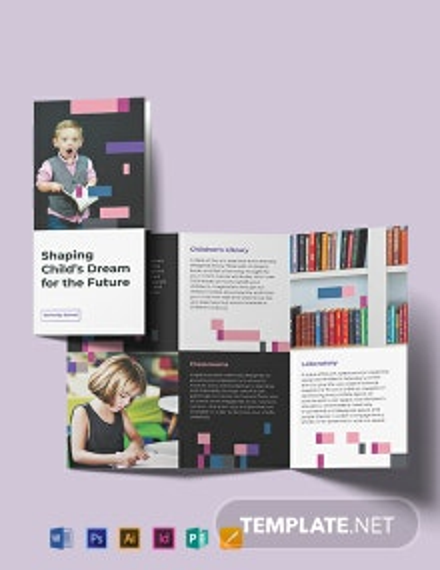 Preschool Promotional Tri-Fold Brochure Template
