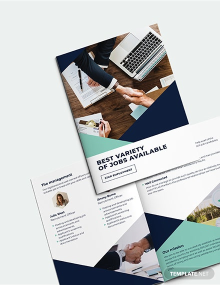 Recruitment Bi-Fold Brochure Template [Free Publisher] - Illustrator, InDesign, Word, Apple Pages, PSD