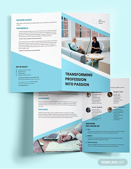 Recruitment Agency Bi-Fold Brochure Template