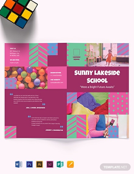 Simple Preschool Bi-Fold Brochure Template