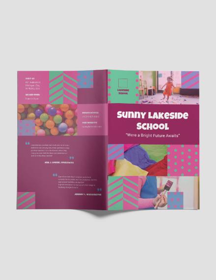 Simple Preschool Bi-Fold Brochure Template