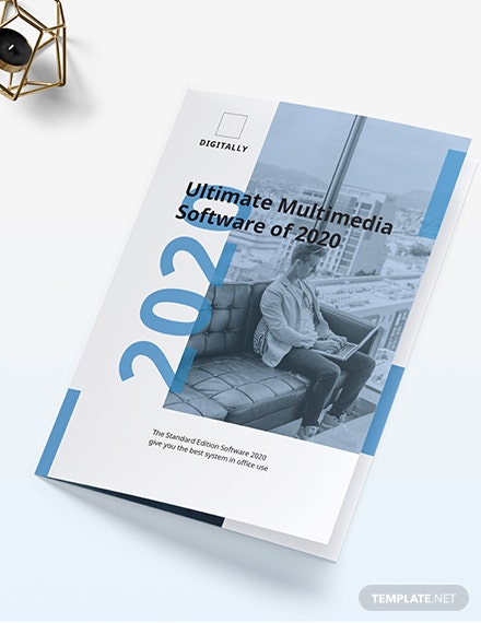 Software Company Marketing Bi-Fold Brochure Template
