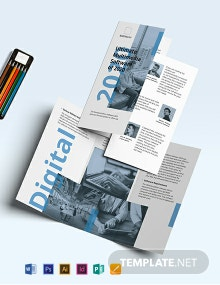 Software Company Marketing Tri-Fold Brochure Template