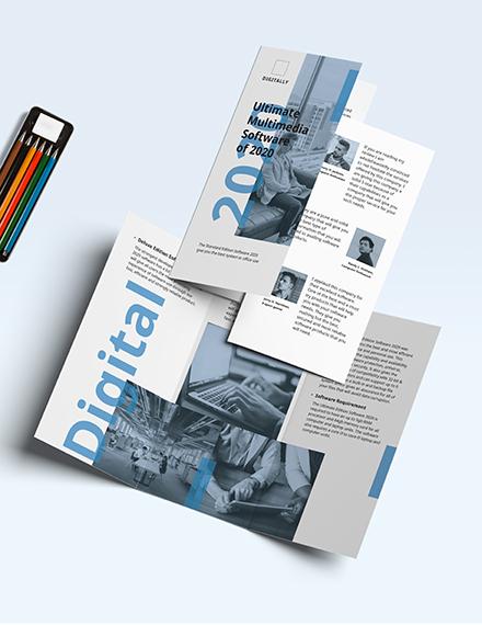 Software Company Marketing Tri-Fold Brochure Template