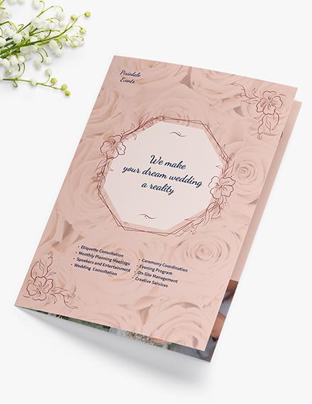 Wedding Event Planner Bi-Fold Brochure Template