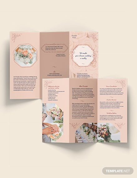 Sample Wedding Event Planner TriFold Brochure