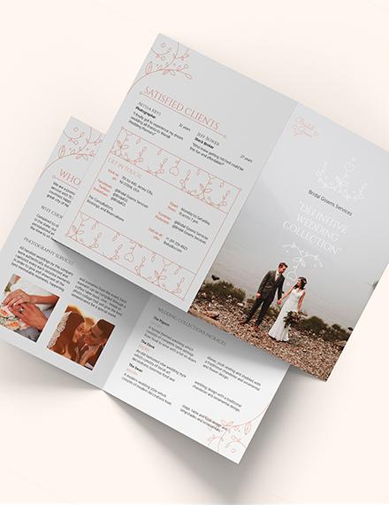 Wedding Planner Bi-Fold Brochure Template [Free Publisher] - Illustrator, InDesign, Word, Apple Pages, PSD