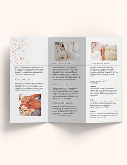 Sample Wedding Planner TriFold Brochure