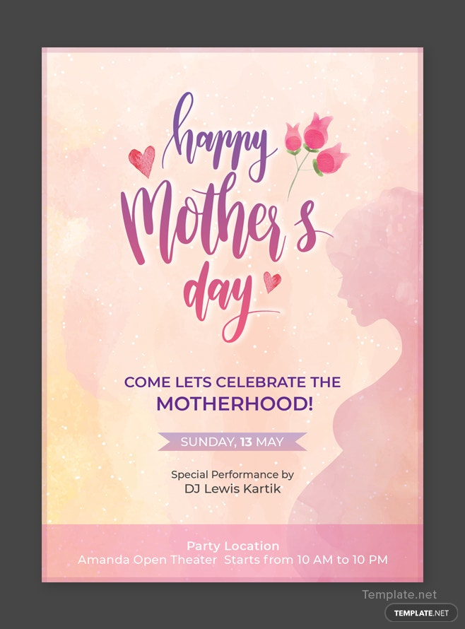 Free Mothers Day Invitation Template in Adobe Photoshop Templatenet