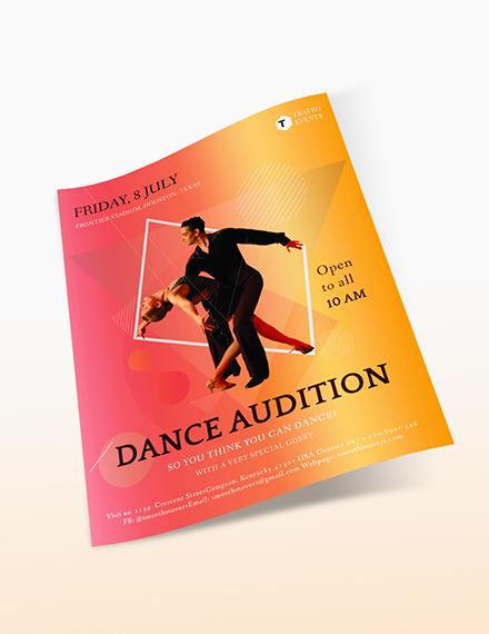Sample Dance Audition Flyer