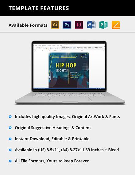 Editable Hip Hop Music Flyer