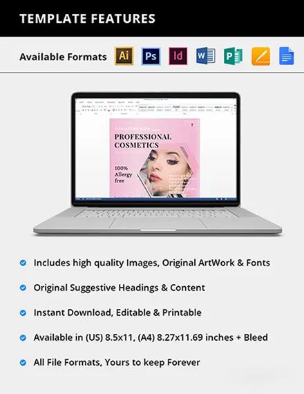 Editable Professional Cosmetics Flyer