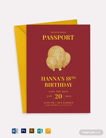 Passport Invitation Card Template