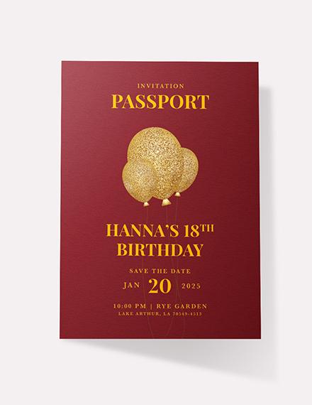 Sample Passport Invitation Card