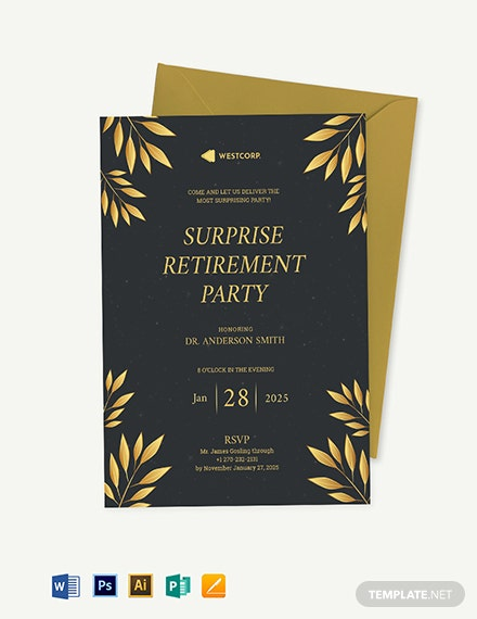 Surprise Retirement Party Invitation Template