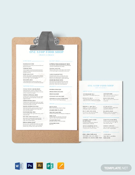 Food and Drinks Menu Template