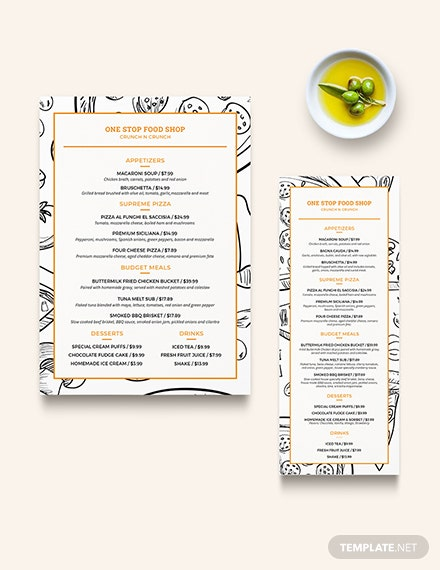 Creative Modern Food and Drinks Menu Download