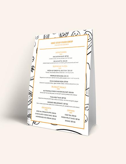 Sample Creative Modern Food and Drinks Menu