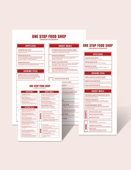 Modern Food and Drinks Menu Download
