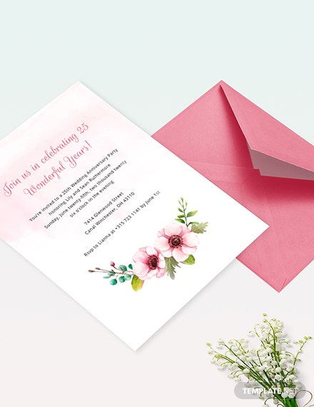 25th Wedding Anniversary Invitation Template Word Psd