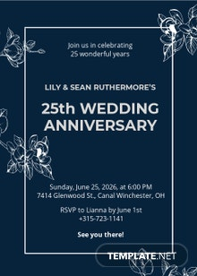 25th Wedding Anniversary Invitation Template